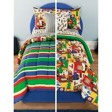 NEW Twin Full Bed Bag Boys Fire Truck Alarm Reversible 8 pc Comforter Sheets Set