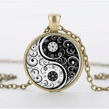 Yin Yang Cabochon Pendant Necklace New Flower Alloy Glass Tibet Silver Chain