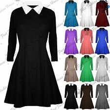 Womens Casual Plain Collared Long Sleeves Ladies Flared Jersey Swing Dress Top