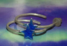 New Artisan Open Hoops Earrings Red Blue Silver Star Sterling 925 Jewelry