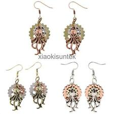 Vintage Steampunk Long Drop Earring Octopus Gear Gothic Women Girl Party Jewelry