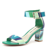 New Django & Juliette Nancie Ocean/Multi Leather Women Shoes Heeled Sandals