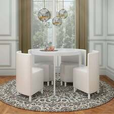 WHITE HI GLOSS ROUND WITH PU WHITE LEATHER CHAIR  SPACESAVER STOWAWAY DINING SET