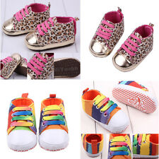 Vogue Infant Toddler Baby Boy Girl Soft Sole Crib Shoes Sneaker Leopard/Rainbow