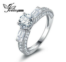 JewelryPalace 3 Stone Cubic Zirconia Wedding Ring Solid 925 Sterling Silver
