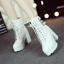 new Womens Buckle Punk Ankle Boots Chunky Punk platform High Heel Lace Up Shoes