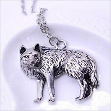 Occident Wolf Charm Necklace Vintage Retro Pendant Jewelry Men Long Chain