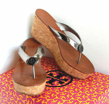 Tory Burch Women's Thora Pewter Patent Leather Wedge Flip-Flop Gold Logo