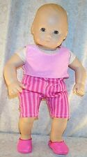 """Doll Clothes fit American Girl Bitty 15"""" inch Leggings Set Pink Stripes NEW"""