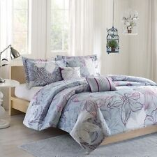 NEW Twin XL Full Queen Bed Purple Gray Grey Large Floral 5 pc Comforter Set NWT