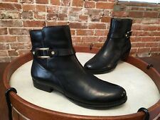 Isaac Mizrahi Tinker Black Leather Buckle Ankle Boot NEW