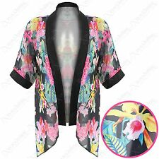 NEW LADIES BLACK FLORAL PRINT KIMONOS WOMENS CHIFFON OPEN CARDI KAFTAN LOOK TOP