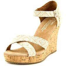 Toms Strappy Wedge Women  Open Toe Canvas Tan Wedge Sandal