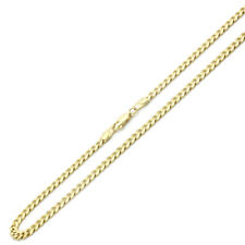 4.5mm 14K Yellow Gold Chain Yellow Pave Curb Chain Necklace / Gift box