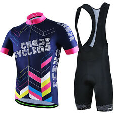 High Quality CHEJI Mens Cycling Cloth Bicycle Jersey & Padded (Bib) Shorts Set