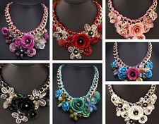 Crystal New Chunky Statement Pendant Jewelry Flower Necklace Choker Hot Collar