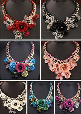 Statement Choker Crystal Pendant Jewelry Fashion Flower Necklace Chunky Collar