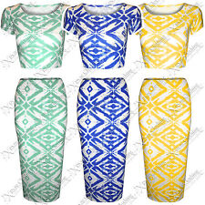 WOMENS LADIES BODYCON AZTEC TIE DYE PRINT PENCIL MIDI SKIRTS CROP TOPS TOP SUIT