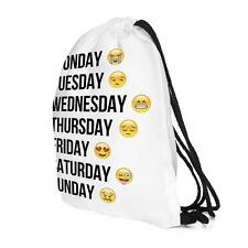 Weeks Emoji Drawstring Backpack Cinch Sack Gym Tote Bag School Sport Pack