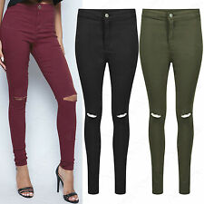 NEW WOMENS RIPPED KNEE COLOUR SKINNY JEANS LADIES HIGH WAISTED CUT JEGGINGS LOOK