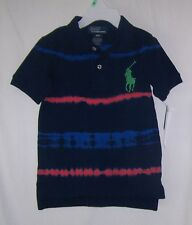 NWTS POLO RALPH LAUREN NAVY BLUE TIE-DYE BIG PONY POLO SHIRT 18, 24 MONTHS NEW