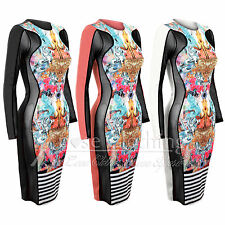 WOMENS LADIES STRIPE &PRINT SIDE MESH MIDI DRESS SLIMMING EFFECT BODYCON DRESSES