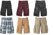 "CRIMINAL DAMAGE MENS CARGO SHORTS Camo Black Burgundy Beige Blue Check 30"" 32 34"