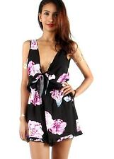 Women Summer Shorts Rompers Jumpsuits Sexy Playsuits Bow Floral Printed Overalls