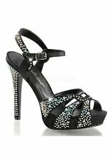 Fabulicious 4 3/4 Inch Heel, 1 Inch Platform Ankle Strap Sandal With Rhinestone