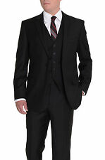 Michael Kors Classic Fit Solid Black Two Button Three Piece Wool Blend Suit
