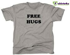 FREE HUGS Funny College Party Pick Up Line Peace Love Nice T-Shirt NEW - Grey