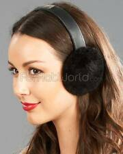Sheared Beaver Fur Earmuffs with Leather Band -Brand: frr -Made in Canada