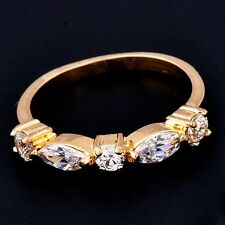 Gemstone ring Gold Plated womens wedding lucky crystal love rings size 6 7 8.5