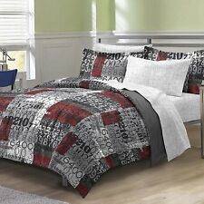 NEW Twin Full Bed Bag Gray 7pc Comforter Set Sheets Reversible Math Numbers Gray