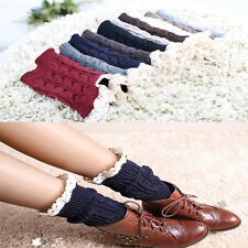 Girl's  retro Crochet Knitted Lace Trim Boot Cuffs Toppers Leg Warmers Sock