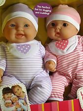"Lots to Cuddle Doll Babies Huggable Twins; 12"" Boy & Girl Dolls by JC Toys"