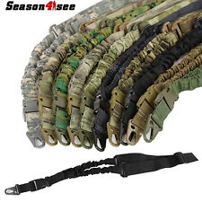 Tactical One Single Point Adjustable Bungee Rifle Gun Sling System Strap Hunting