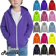 New Kids Girls & Boys Unisex Plain Fleece Zip Up Hoodie Jacket Long Sleeve Coat