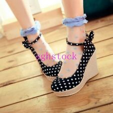 New Sweet Lolita Womens Polka Dot Platform Wedge Heels Bowknot Ankle Strap shoes