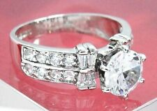 Women's Solid 14k White Gold 2.0 ct Simulated Diamond Engagement Ring