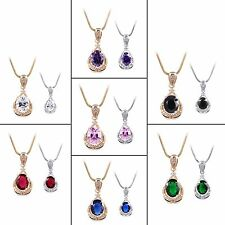 Wedding Pendant necklace! 18k gold filled Oval Pink/White Sapphire Pendant 18''