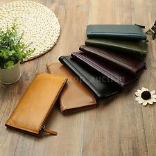 New Mens Long Leather Wallet Money Business Credit ID Card Holder Wallets U6K6
