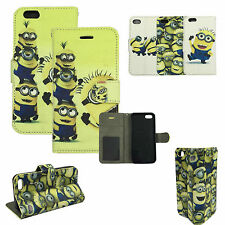 PU Leather Book Wallet Flip Me Minion Cartoon Case Cover For iPhone 6 5 5S 4 4S