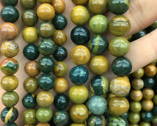 natural gemstone green yellow ocean jasper beads round stone beads 6mm 8mm 10mm
