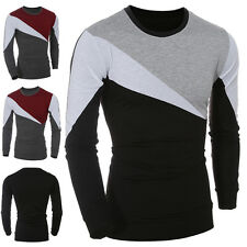 Mens Stylish Casual Long Sleeve T-shirt Slim Fit Crew-Neck Patchwork Tee Tops