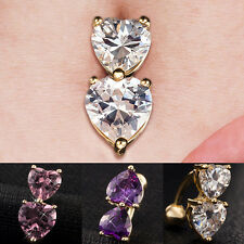 Sale Reverse Crystal Bar Belly Ring Gold Body Piercing Button Navel Two Heart US