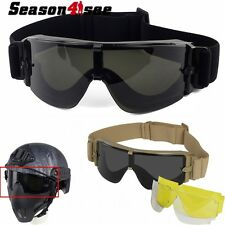 Tactical Airsoft Anti-Fog Paintball Military Hunting Safety Goggle Glasses 3lens