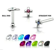40 Sterling Silver Jewelled Cross Nose Pins Ball End Or Straight Pin 22g