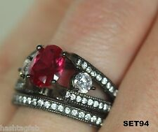 Vintage Style Black Rhodium Sterling Silver Pink Sapphire 3.66Ct Bridal Ring Set