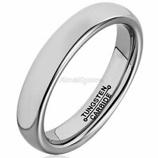 4mm Tungsten Carbide Wedding Band Ring Polished Dome Silver Mens Womens Jewelry